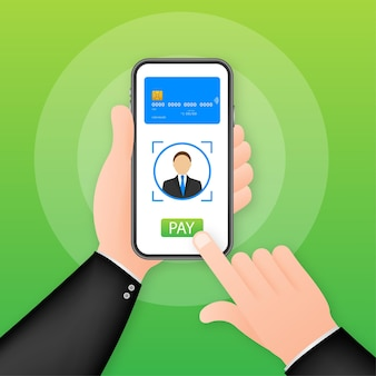 Mobile payment concept with illustration of smartphone, credit card. vector illustration.