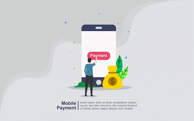 Mobile payment concept with people character