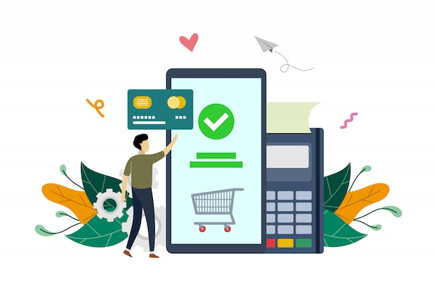 Mobile payment, e-commerce market shopping online payment   flat illustration template