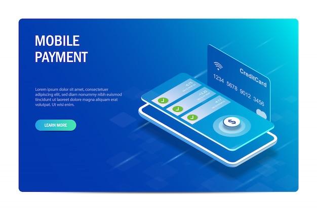 モバイル決済。モバイルアプリケーションを介した金融取引。