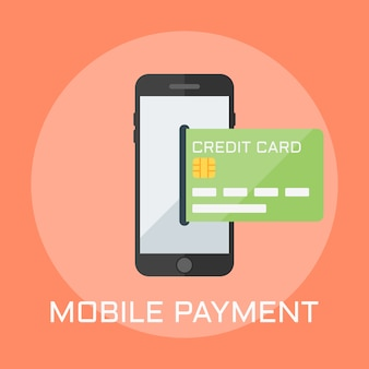 Mobile payment flat design style illustration, smartphone on the screen shows the credit card