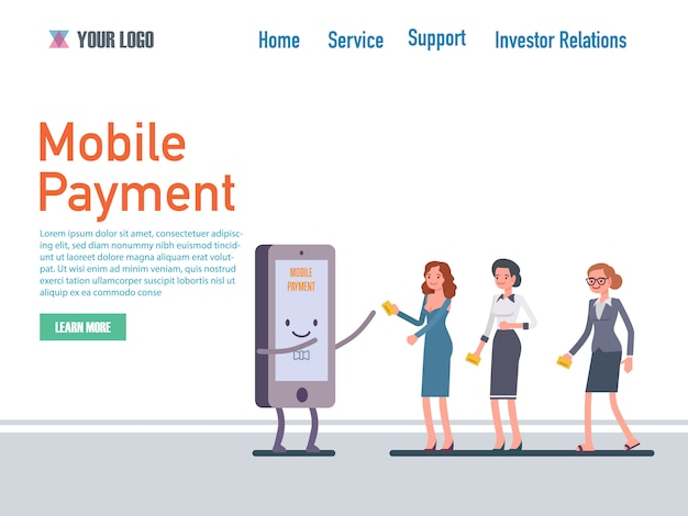 Mobile payment flat design web page templates