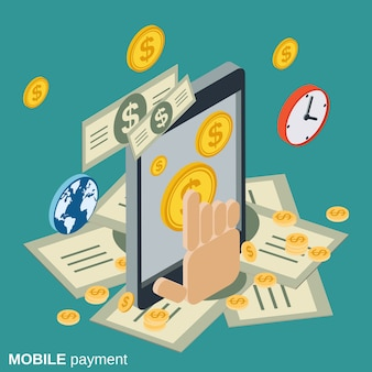 Mobile payment flat isometric vector concept illustration