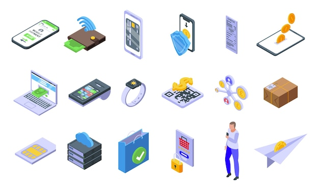 Mobile payment icons set. isometric set of mobile payment  icons for web  isolated on white background