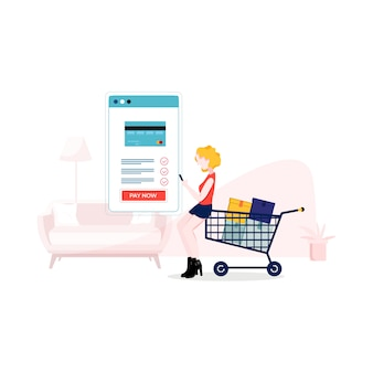 Mobile payment illustration in flat style
