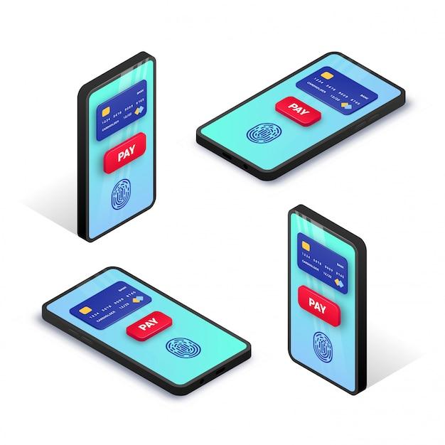 Изометрические концепция мобильных платежей. 3d набор смартфона с кредитной картой, отпечатком пальца, кнопка оплаты на экране. онлайн-транзакция, концепция электронного банкинга. иллюстрация для сети, приложения, рекламы