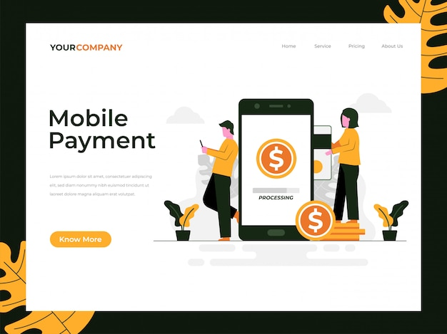 Mobile payment landing page