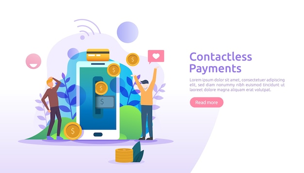 Mobile payment or money transfer concept. contactless, wireless or cashless payments with smartphone nfc technology banner