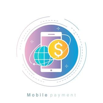Мобильный платеж, денежный перевод, цвет градиента оплаты онлайн-платежей