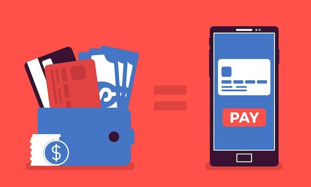 모바일 결제 돈. 지갑, 스마트폰 결제 서비스, 전자결제, 컴퓨터 기술을 이용한 마케팅, 금융거래를 위한 전화, 구매. 벡터 일러스트 레이 션