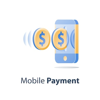 Mobile payment, online banking, financial services, smartphone and dollar coin