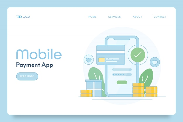 Mobile payment or online money transfer conceptual landing page
