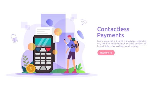 モバイル決済や送金のコンセプトです。スマートフォンnfcテクノロジーバナーを使用した非接触、ワイヤレス、またはキャッシュレスの支払い