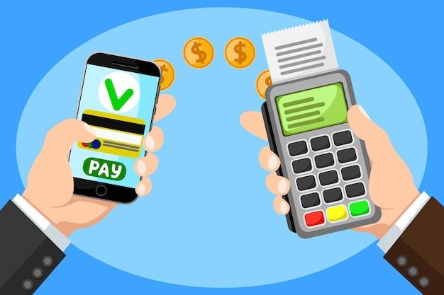 Мобильная оплата, оплата покупок, услуг и развлечений. рука с телефоном и платежным терминалом