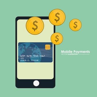 モバイル支払いスマートフォンクレジットカード通貨ドル