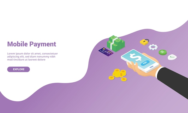 Mobile payment technology app for website template landing homepage or banner with isometric style