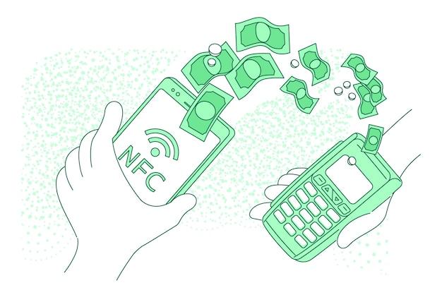 モバイル決済端末細い線の概念図。 webのスマートフォンの漫画のキャラクターで支払いを行う人。 nfcの支払い、送金、電子財布の独創的なアイデア