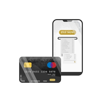 Mobile payment with black credit debit card