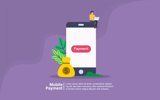 Mobile payment with people character banner