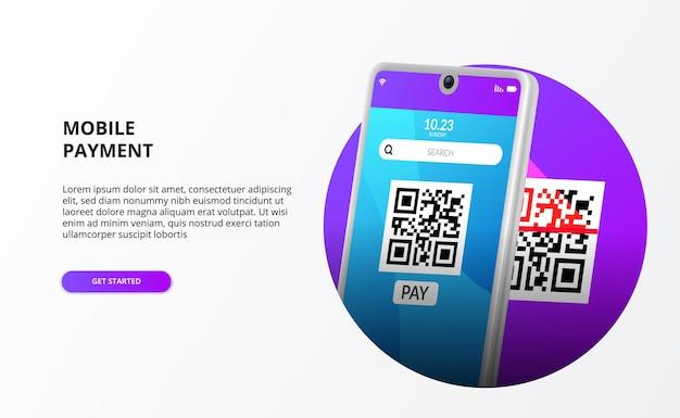 Мобильный платеж со сканированием qr-кода для безналичного общества для современного банкинга с 3d телефоном