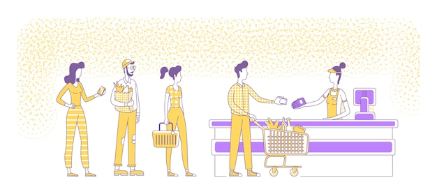 Мобильные платежи в супермаркете оформить плоский силуэт иллюстрации. люди, стоящие в очереди, продавец и покупатели наброски символов на белом фоне. nfc, безналичная оплата простым стилем рисования
