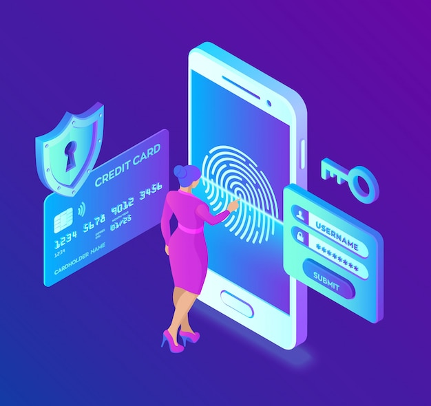 Mobile payments. data protection . personal data protection. credit card check and software access data as confidential.