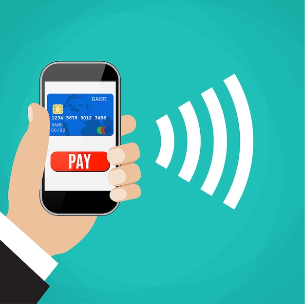 Мобильные платежи. мужчина держит телефон.