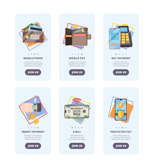 Страницы адаптации мобильных платежей. веб-баннеры дизайна пользовательского интерфейса с концептуальными изображениями вектора платежной системы nfc онлайн-банкинга. иллюстрация мобильных платежей, электронных счетов и защиты платежей