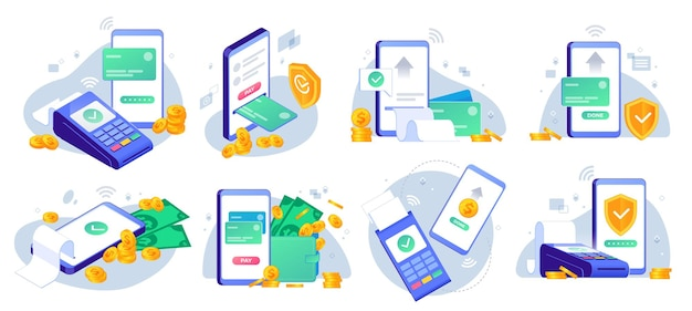 Mobile payments. online sending money from mobile wallet to bank card, golden coins transfer app and e payment illustration set.