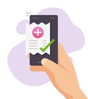 携帯電話でのモバイル薬局の医療費の領収書またはスマートフォンを介して請求書を支払った人 Premiumベクター