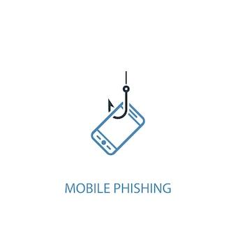 Концепция мобильного фишинга 2 цветных значка. простой синий элемент иллюстрации. дизайн символа концепции мобильного фишинга. может использоваться для веб- и мобильных ui / ux