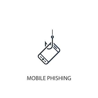 Значок мобильного фишинга. простая иллюстрация элемента. дизайн символа концепции мобильного фишинга. может использоваться в интернете и на мобильных устройствах.