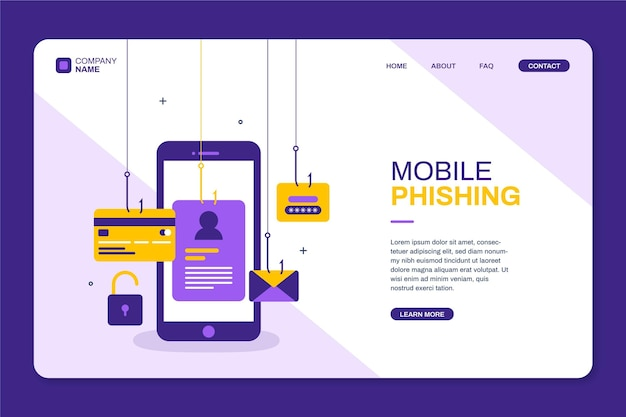 Mobile phishing is dangerous landing page