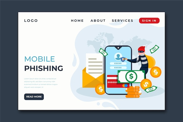 Mobile phishing landing page template