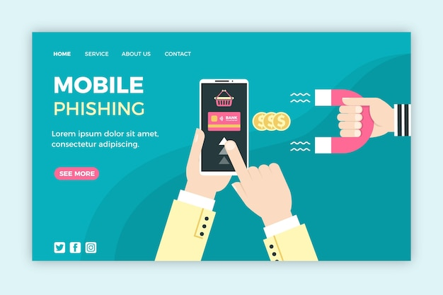 Concetto mobile del modello web di phishing Vettore gratuito