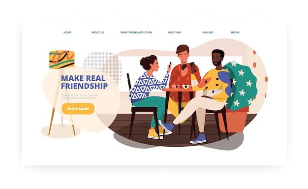 携帯電話中毒の多民族の友人がコーヒーを求めてカフェで会う。スマートフォン依存症の概念図。ベクトルのウェブサイトのデザインテンプレート。ランディングページのウェブサイトのイラスト。