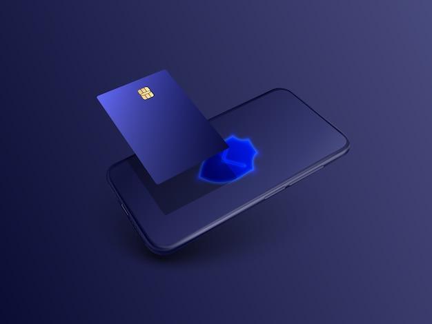 Мобильный телефон и интернет-банкинг. безопасная онлайн-транзакция с помощью кредитной карты. защита торговых беспроводных платежей через смартфон. оплата цифровых технологий.