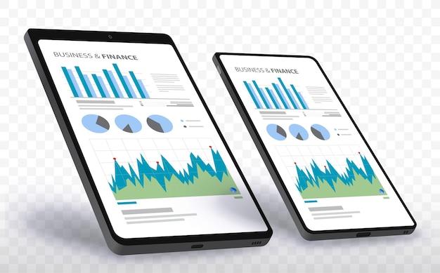Экраны мобильных телефонов и планшетных компьютеров с финансовыми диаграммами и графиками