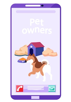Mobile phone application for pet owners to socialize get information and share photos of cats dogs or other animals.