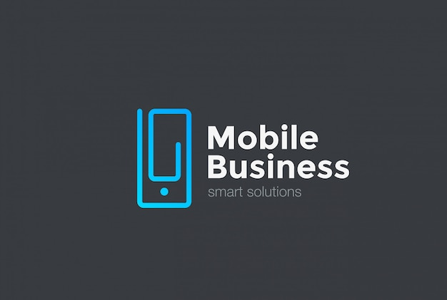 Mobile phone as clip logo icon. linear style