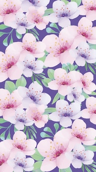Mobile phone background with nice watercolor flowers