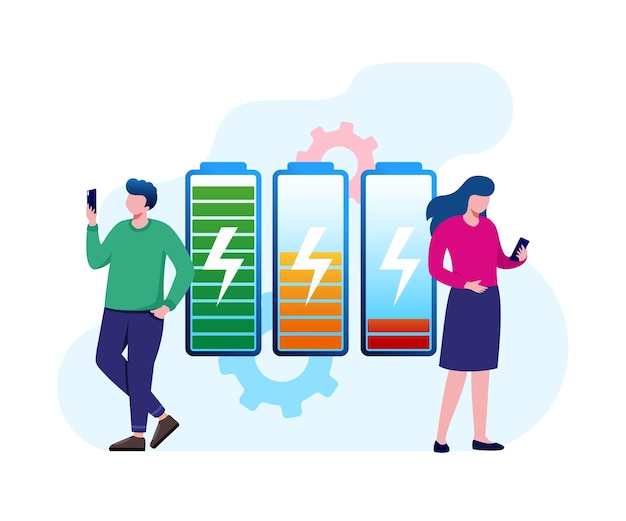 Mobile phone battery flat vector illustration banner and landing page