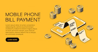 Mobile phone bill payment illustration of smartphone with money and invoice receipt.