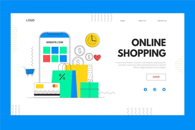 Mobile phone and box online shopping landing page