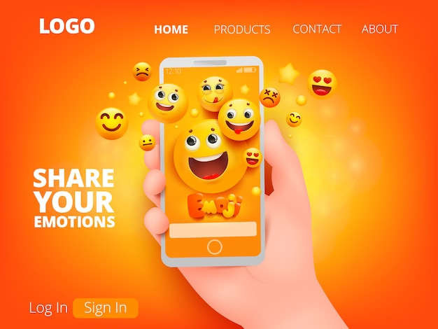 Mobile phone in cartoon style on yellow background. hand holding smartphone. yellow emoji smile face characters in various emotions