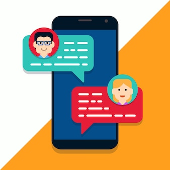 Mobile phone chat illustration