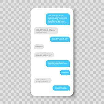 Mobile phone chat messenger template smartphone message