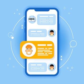 휴대폰 채팅 알림 메시지입니다. 스마트 폰 및 채팅 거품 연설, 온라인 대화