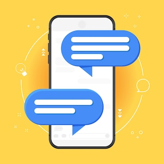Mobile phone chat notification message on yellow background. illustration isolated on colored background, smartphone and chat speech bubble, concept of online conversation, talk, conversation.