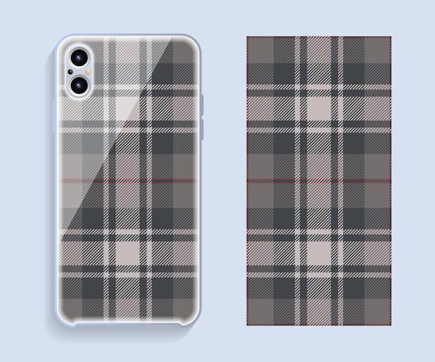 携帯電話のカバーデザイン。タータン柄。